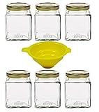 6 x Einmachglas 210 ml Marmeladenglas, Gewürzglas, Glasdose, mit Schraubverschluss (Farbe Gold), inkl. Trichter