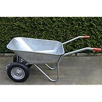 Carriola con 2 ruote, 100 l, acciaio, resistente, con rivestimento, pneumatici ad aria con cerchione in acciaio