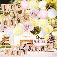 Baby Shower Decoraciones BABY SHOWER & IT'S CHICA Garland Bunting Banner Papel tisú Flor Pom Poms Linternas de papel Paper Honeycomb Bolas Rosa / Blanco / Dorado / Crema Decoración de fiesta Habitació