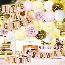Baby Shower Decorations BABY Shower & It's A Girl Bunting Banner Papier de soie Flower Pom Poms Lanternes de papier Papier Honeycomb Balls Rose / Blanc / Or / Crème Décoration de fête Nurs