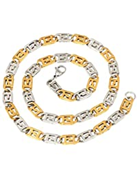 The Jewelbox Men Stainless Steel Gold Rhodium Italian Puzzle Designer Chain 21""