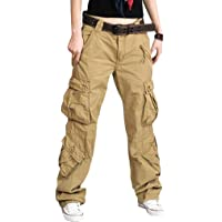Mxssi Pantaloni Cargo da Donna - Ladies Multi-Pocket Combat Pantalone Comodo Pantaloni Lunghi Outdoor Pantaloni da…