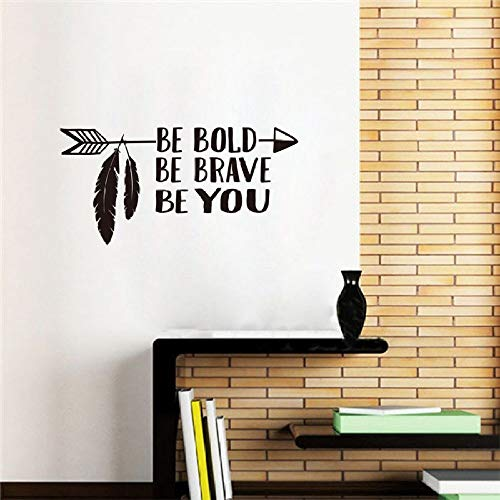 WWYJN Wall Art Decal Be Bold Be Brave Be You Arrow Wall Sticker Home Decor Boys Room Vinyl Wall Stickers Kids Room Quote Decal Gray 57x28cm - Pferd Anhänger-Überwachung