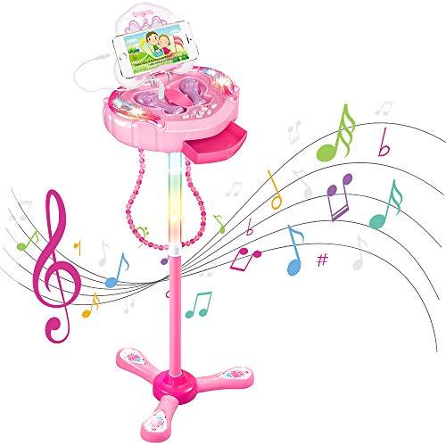Anpro Kinder Karaoke Karaokemaschinen Karaoke-Mikrofon mit verstellbarem Ständer, Mikrofone Spielset von Zwei Mikrofonen Party Lautsprecher mit Musikfunktion und Blinklichter für Kinder und Mädchen