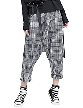 ELLAZHU Women Fashion Plaid Elastic Waist Casual Harem Pants GY1531 A