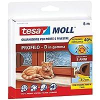 Tesa 05393-00111-00 con aro de caucho perfecto para puertas y ventanas, perfil P, Chestnut marrón
