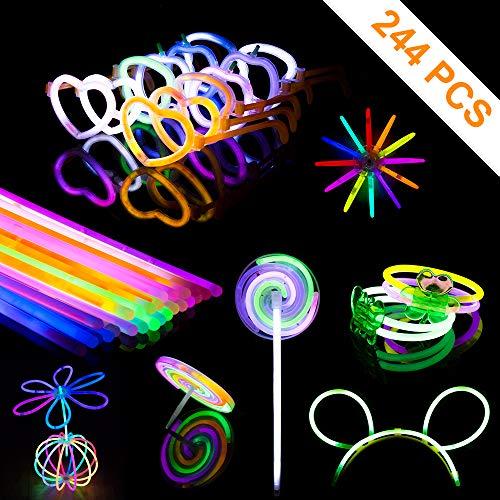 PITAYA Pulseras Luminosas,Varitas Luminosas para Fiestas con Conectores, Kits para Crear Gafas, Pulseras triples,Collares,Bola Luminosa,Diadema,Flores(244 en Total)