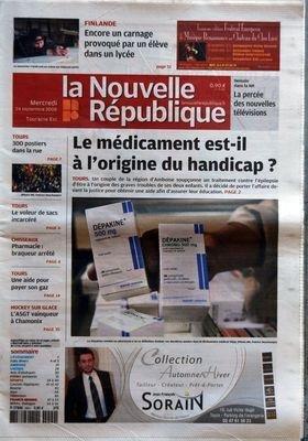 NOUVELLE REPUBLIQUE (LA) [No 19252] du 25/02/2008 - NOUVELLE GREVE AUX URGENCES DU CHU DE TOURS - CRI D'ALARME SUR LES PRIX DES PRODUITS ALIMENTAIRES - L'ALGARADE DE SARKOZY FAIT UN TABAC SUR LE NET - LE STYLE ET L'HOMME PAR CANNET - VIOLENCES AUTOUR DU MATCH DE HANDBALL PAR JOUE-LES-TOURS - RUGBY - L'US TOURS ET TYROSSE