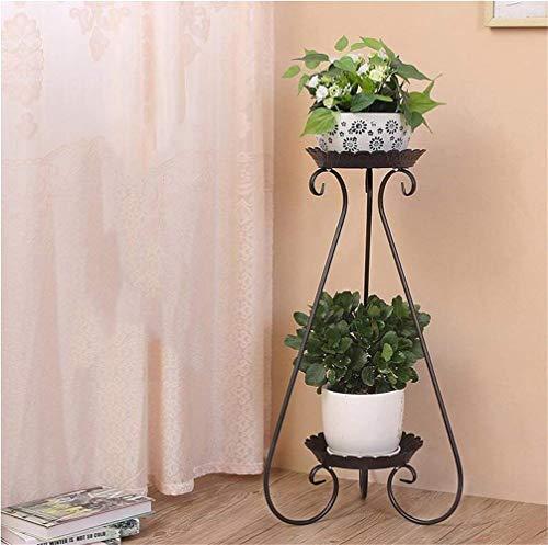 Meubles de salon modernes Supports de fleur d'art antirouille de fer / support de plantes en pot de plancher créatif pour la chambre à coucher de balcon (couleur: noir, taille: 65 * 32 * 24cm)
