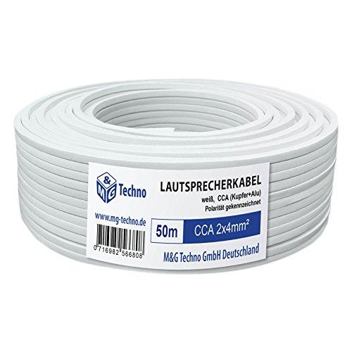 50m Lautsprecherkabel 2x4mm², rechteckig, weiß, CCA, Boxenkabel, mit Metermarkierung, in bewährter M&G Techno-Qualität