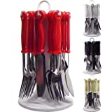 NEW 24PC CUTLERY DINNER SET RACK METAL FORKS TEASPOONS TEA SPOONS DRAINER STAND (RED)