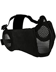 Tactical Airsoft Mask Foldable Half Lower Face Metal Steel Mask With Ear Protection