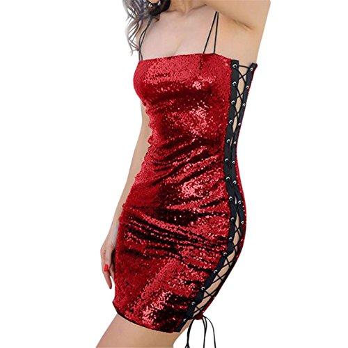 Womens Lace Senza Maniche Elasticizzato Paillettes Bodycon Partito Mini Dress Senza Maniche Estate Primavera Prom Costume Mode Elegante Pizzo Chiffon Poliestere Cotone Rosso