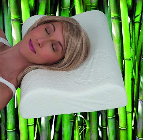 *daydream Orthopädisches HWS Nackenstützkissen aus Memory Foam (P-16100) Bambus-Bezug, Kissen, Kopfkissen, Schlafkissen, Bettkissen, Nackenkissen, 50 x 35 x 7,5/9,5 cm, Testsieger Produkttester*