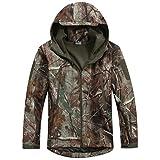 Reebow Gear Militaer Taktische Softshell Jacke outdoor Fleece Kapuzenjacke Blaetter Tarnung L