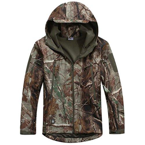 Reebow Gear Militaer Taktische Softshell Jacke outdoor Fleece Kapuzenjacke Blaetter Tarnung XS