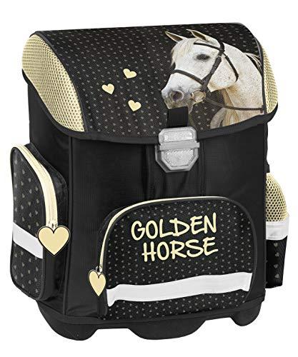 Pferde Horses Schulranzen Mädchen 1 Klasse | Tornister Schulrucksack Schultasche | Set 4 teilig | für Grundschule | inkl. Geldbörse, Brustbeutel, Regenschutz von SCOOLSTAR
