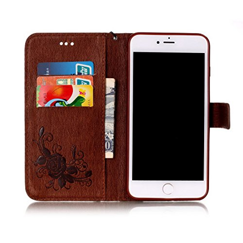 iPhone 7 Plus custodia a portafoglio, Ledowp Apple iPhone 7 Plus Premium custodia a portafoglio in pelle PU, Full Body Butterfly pattern design magnetico staccabile in pelle portafoglio Flip Cover per Brown