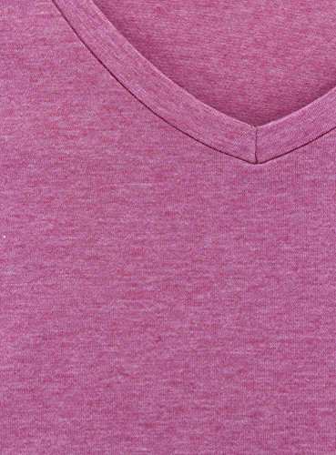 oodji Collection Damen T-Shirt mit Breitem V-Ausschnitt Rosa (4100M)
