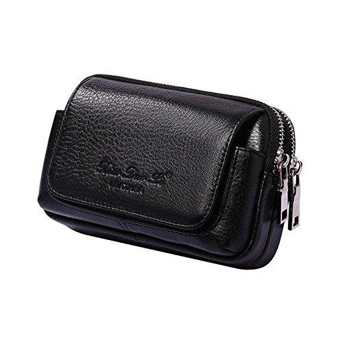 Aolvo - Cartuchera multifuncional, de piel auténtica de primera, ideal para iPhone 8 Plus, cartera con presilla para llevar en el cinturón, de cintura, ultrafina, cartera para hombre, color Black