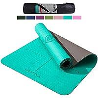 YAWHO Yogamatte hochwertige TPE ist rutschfest ECO Freundlichen Material Das SGS zertifiziert Maße: 183 cm X 66 cm Höhe 0.6 cm, Design Hilfslinien, licht, umweltfreundlich, langlebig