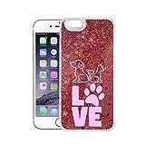 Finoo Iphone 5/5S/SE Flüssige Liquid Rose Goldene Glitzer Bling Bling Handyhülle Motiv - Rundum Silikon Schutzhülle + Muster - Weicher TPU Bumper Case Cover - Love Pfote rosa