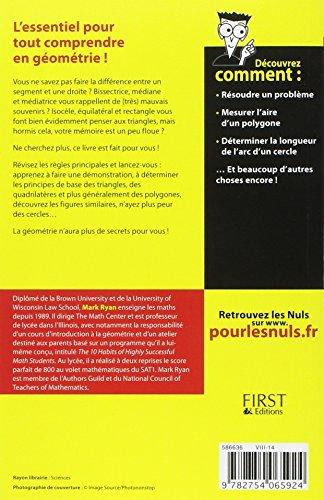 Book's Cover of Essentiel de la géométrie Pour les Nuls
