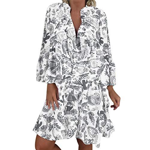 Übergröße Kostüm Pilot - LOPILY Frauen Große Größen Blumenmuster Kleider Boho Stil Übergröße Sommerkleider Blumendruck Knielang Kleid Kurzarm Kleid Tunika Swing Kleid (Grau, 44)