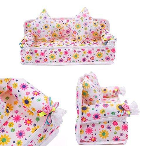 Zeagro Mini Meubles Fleur Canapé + 2 Coussins kit Ensemble pour Maison de poupée Barbie Accessoires Enfants Jouet Cadeau