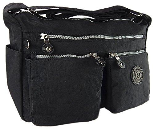 Bag street hochwertige Damenhandtasche aus Crinkle Nylon Schultertasche Sportliche Umhängetasche (Schwarz) (Crinkle Handtasche Nylon)