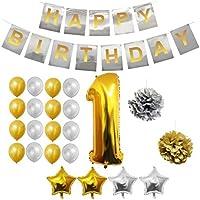 BELLE VOUS Globos Cumpleaños Buon Compleanno, Suministros e Decorazione di Globo Grande de Aluminio - Decorazione Globos De Látex Dorado e Plateado - Aptos para Todos de Peñaños (Age 1)