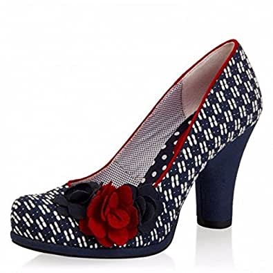 Ruby Shoo Eva Navy Red High Heel Flower Court Shoes, 3