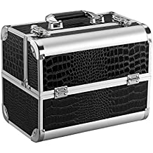 LANGRIA Professional Aluminium Travel Makeup Train Case & Beauty Accessories Organiser with 4 Trays 2 Locks with Keys Durable Glossy Faux Leather Crocodile Grain Storage Case for Makeup Artists, Black
