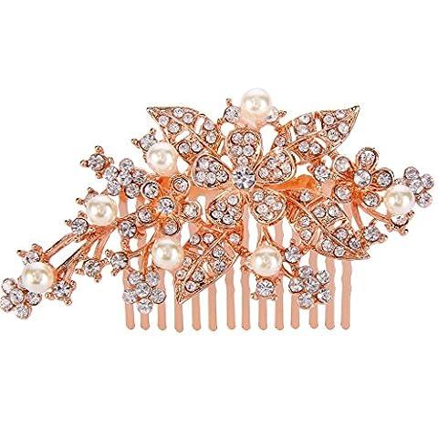 EVER FAITH® Rose Gold-Ton Braut Orchid Blatt Cream künstliche Perle Haarkamm klar österreichische Kristall N01316-3