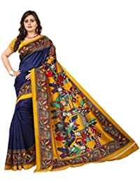 Jaanvi fashion Women's Art Silk Kalamkari Printed Saree, Free Size (warli-prints-blue)