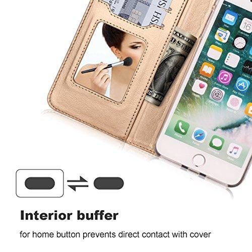 iPhone 8 Plus Hülle , iPhone 7 Plus Hülle, Fyy® Hochwertige Kunstleder Tasche mit Spiegel und Schleifen für Apple iPhone 8/7 Plus , Rosa Gold+Gold B-Grün-Pat