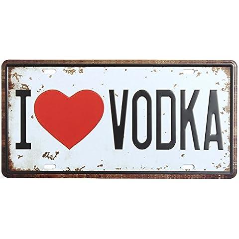 Bluelover Decorazione della parete di vodka License Plate Tin segno Vintage metallo placca Poster Bar Pub casa