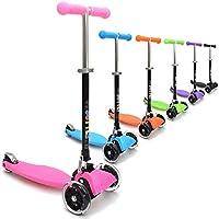 3Style Scooters RGS-1 rosa tabla oscilante patinete de 3 ruedas con Minibarra para niños/niñas con luces LED en las ruedas