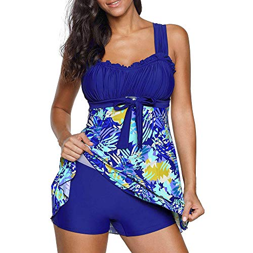 Riou Bademode Damen Tankinis Große Größen Sexy Push Up Bikini Sets Zweiteilige Farbverlauf Badeanzug Strandkleidung mit Bügeln Triangel Für Sommer Beach Sportlich Schwimmanzug (XL, Blau E)