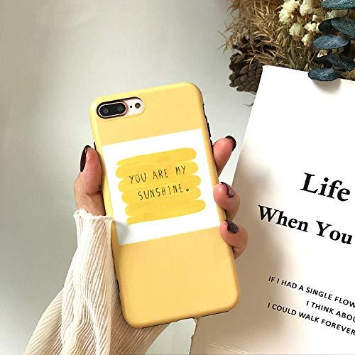 SUNHAO iPhone 6 7 8 Plus xsr MAX Mobile Shell Gelb-Silikon-Kasten-Gekritzel Englisch dünne Abdeckung Liebhaber-Telefon-Kaste -