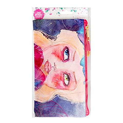 Jane Davenport Mixed Media Coated Cloth Pencil Art Pouch – Zippered Closure – Art Material Organizer