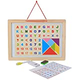 #9: (Angel Impex) Double Sided 2 In 1 Wooden Black & White Magnetic Board Slate Along With Magnetic Alphanumerics And Tangram For Kids
