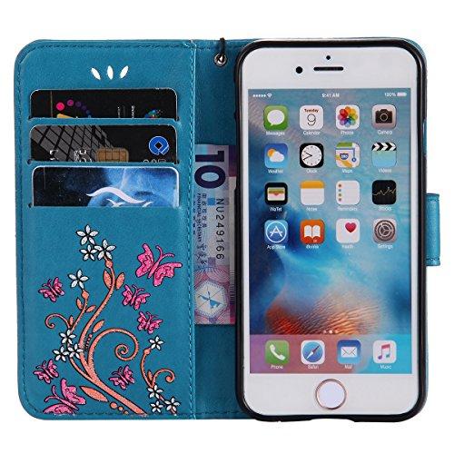 JAWSEU Coque Étui pour iPhone 6/6S 4.7,iPhone 6S Coque en Cuir Folio avec Corde Strap,iPhone 6 Housse Portefeuille Pu avec Magnétique Stand,2017 Neuf Ultra Slim Retro Relief Flip en Cuir Étui de prote bleu
