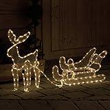 Reno con trineo iluminado con 216 LED - Iluminación navideña de Gartenpirat®