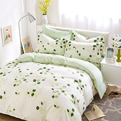 200TC Farben Mehr+Einfachen Stil+100 % Baumwolle+Pflanze Blüht+Vier Satz Von Bettbezug(1 Bettbezug+1 Blatt+2 Kissen-)-A Queen1 (1 Bett-blatt-satz)