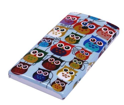 gada - Handyhülle für Sony Xperia P LT22i Schutzhülle Hardcase im stylischen Design - kleine süße Eulen Owl bunt