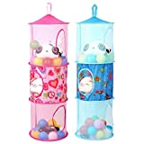 Leoie 2 Pcs Mesh Folding Hanging Storage Space Saver Bags with 3 Compartments for Bedroom Wall Closet