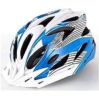 MAXTK Casco de Motocicleta Transpirable para Bicicleta de montaña, protección de Seguridad, Capucha, Hombres y Mujeres, Equipamiento de Bicicleta, luz, Color bluewhite, tamaño Lines