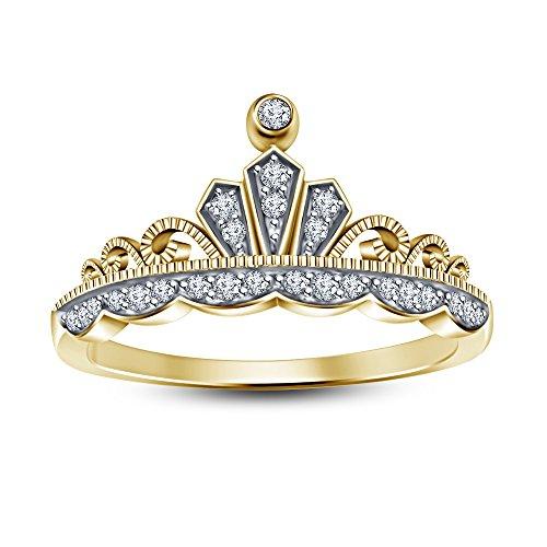 Vorra Fashion Princess/Queen 's Krone glänzend Zirkonia zweifarbig vergoldet Frauen Hochzeit Lover Paar Ring