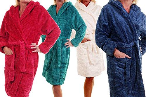 Slenderella - Robe de chambre - Uni - Manches Longues - Femme Crème